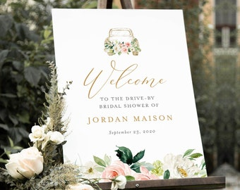 Drive-By Bridal Shower Welcome Sign Template, Instant Download, 100% Editable Text, Printable Poster Sign, Florals, Templett #043-221LS