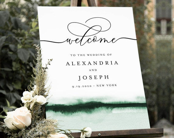 Watercolor Welcome Sign, Printable Minimalist Modern Wedding or Bridal Shower Sign, Instant Download, Editable Template, Templett 093C-202LS