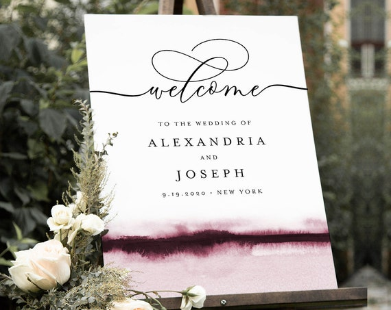 Watercolor Welcome Sign, Printable Minimalist Modern Wedding or Bridal Shower Sign, Instant Download, Editable Template, Templett 093B-200LS