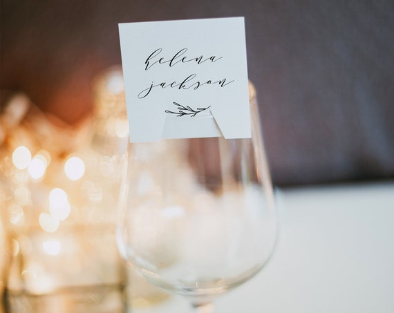 Wine Glass Place Card Printable, Minimalist Wedding Escort Card Template, Modern Calligraphy Name Card, 100% Editable, Templett #037-101SPC