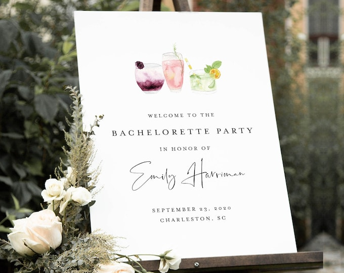 Bachelorette Party Welcome Sign, Editable Template, Printable Cocktail Welcome Sign, Instant Download, Templett, 18x24, 24x36 #060-204LS