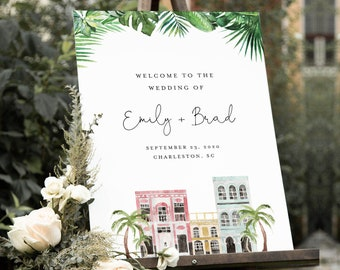 Charleston Wedding Welcome Sign Template, Rainbow Row, Printable Bridal Shower Welcome Sign, Editable, INSTANT DOWNLOAD, Templett 017B-203LS