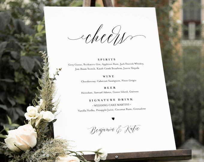 Minimalist Bar Menu Sign, Printable Wedding Bar Menu, Signature Drinks Menu, 100% Editable Template, Instant Download, Templett #038-102BM