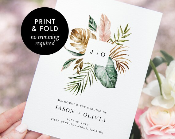 Tropical Wedding Program, Folded Booklet, Printable Order of Service Template, INSTANT DOWNLOAD, 100% Editable Text, Templett #087-137WP