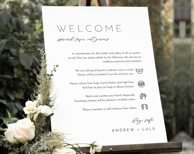 Minimalist Covid Wedding Welcome Sign, Safety Rules + Guidelines Poster, Mask, Social Distance, Instant Download, Templett #094-123CVW