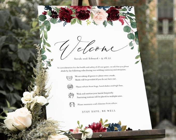 Covid Wedding Welcome Sign, Safety Guidelines, Social Distance Rules, Burgundy Floral Bridal Shower, Instant Download, Templett  #062-120CVW