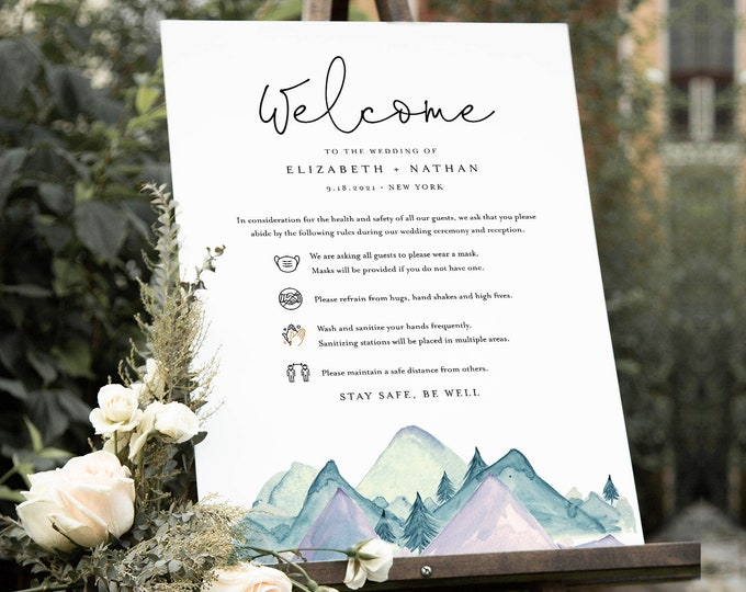 Safety Rules + Guidelines, Covid Wedding Welcome Sign, Mask, Social Distance, Rustic Mountain Pine,  Instant Download, Templett  #063-126CVW