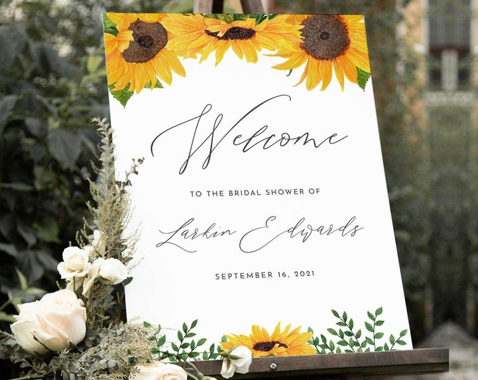 Sunflower Welcome Sign, Fall Bridal Shower Poster, Editable Template, Sunflower Wedding, Instant Download, Printable, Templett #0010-217LS