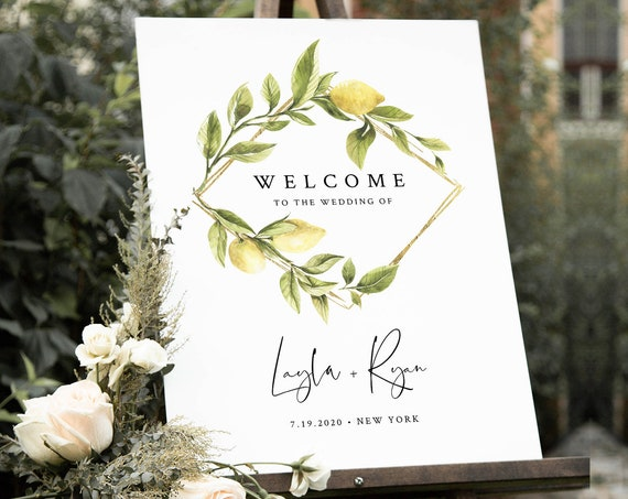 Lemon Welcome Sign Template, Wedding Sign, Citrus Lemon Bridal / Baby Shower Welcome Sign, Editable, Instant Download, Templett #089-181LS
