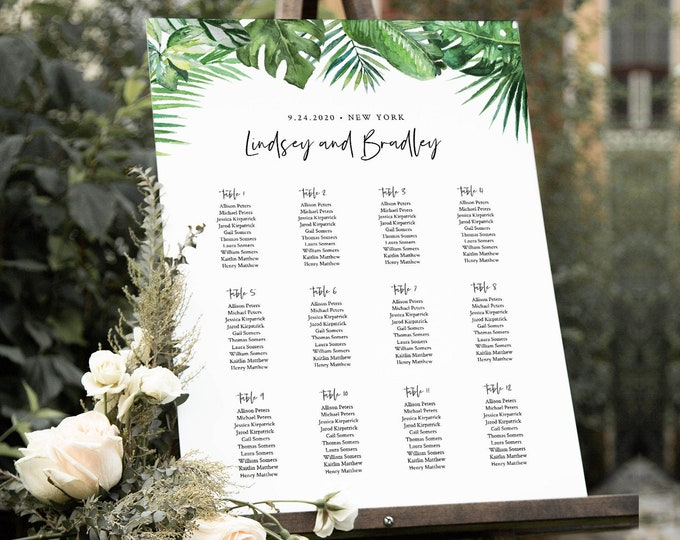 Tropical Seating Chart Template, Wedding Seating Sign, Alphabetical & Table Number Order, 100% Editable Text, INSTANT DOWNLOAD #083-242SC