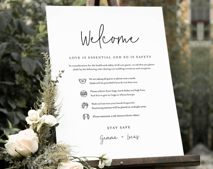 Covid Wedding Welcome Sign, Safety Rules + Guidelines, Minimalist Poster, Mask, Social Distance, Instant Download, Templett #095A-114CVW