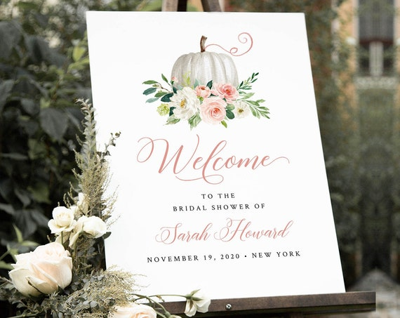 Pumpkin Welcome Sign Template, Fall Wedding or Baby / Bridal Shower Poster, Editable Template, Instant Download, Templett, DIY #072-180LS