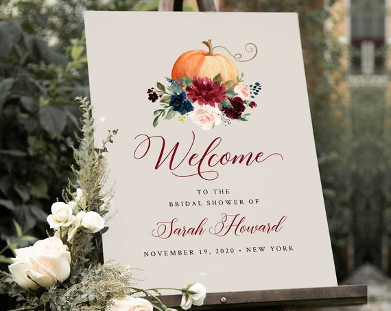 Pumpkin Welcome Sign Template, Fall Wedding or Baby / Bridal Shower Poster, Instant Download, Editable Template, Templett #062A-176LS