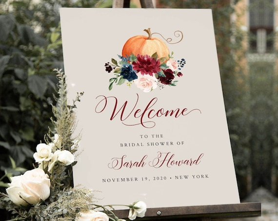 Pumpkin Welcome Sign Template, Fall Wedding or Baby / Bridal Shower Poster, Instant Download, Editable Template, Templett #072-176LS