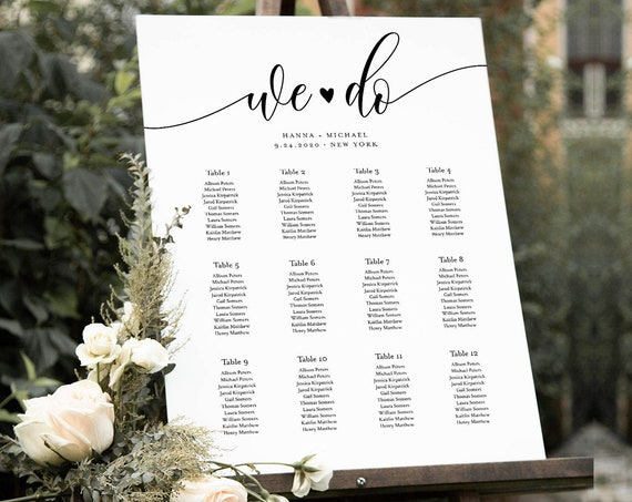 Seating Chart Template, We Do Wedding Seating Sign, Alphabetical & Table Number Order, Minimalist, 100% Editable, INSTANT DOWNLOAD 008-244SC