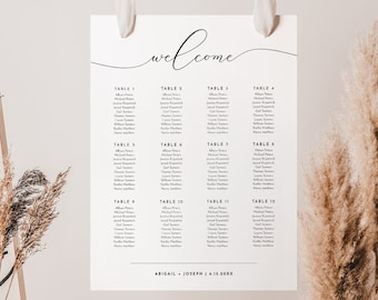 Wedding Seating Chart Sign, Printable Seating Chart Poster, Rustic Seating Plan, Fully Editable Template, Instant Download, PDF #024-211SC