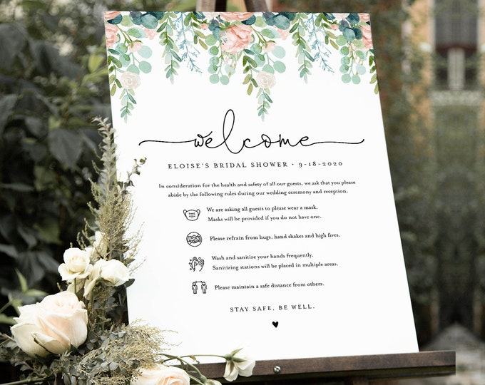 Covid Welcome Sign, Safety Rules, Guidelines for Bridal / BabyShower + Wedding, Social Distance, Instant Download, Templett  #068A-118CVW