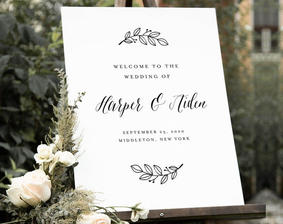 Wedding Welcome Sign, Printable Modern Calligraphy Wedding or Bridal Shower Poster, Instant Download, Editable Template, Templett #039-201LS