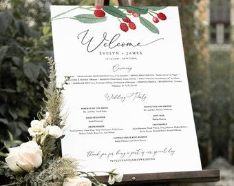 Holly Wedding Program Sign, Printable Winter Christmas Order of Service Poster Editable Template, Instant Download, Templett #071-224LS