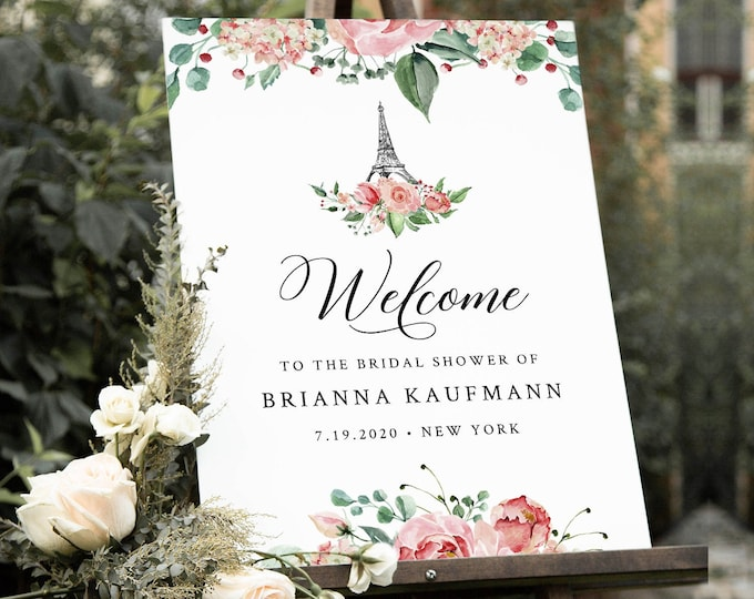 Paris Bridal Shower Welcome Sign Template, Printable Wedding Poster, Eiffel Tower, Instant Download, 100% Editable Text, Templett #001-182LS