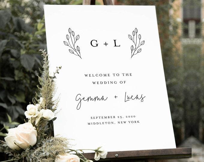 Monogram Welcome Sign, Printable Minimalist Modern Wedding or Bridal Shower Sign, Instant Download, Editable Template, Templett #095B-199LS