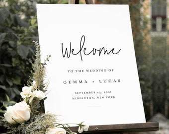 Minimalist Welcome Sign, Printable Modern Simple Wedding or Bridal Shower Sign, Instant Download, Editable Template, Templett #095A-215LS