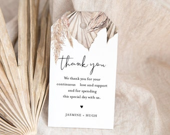 Bohemian Favor Tag for Bridal Shower or Wedding, Dried Foliage, Palm, Pampas, Editable Thank You Tag, Instant Download, Templett #0022-200FT