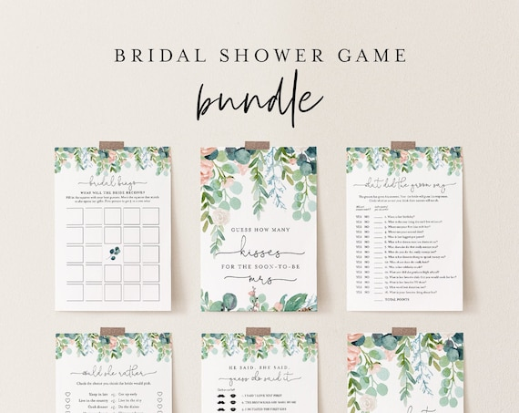 Garden Bridal Shower Game Bundle, 12 Editable Templates, INSTANT DOWNLOAD, Customize Name & Questions, Greenery Games, Templett #068A-BGB