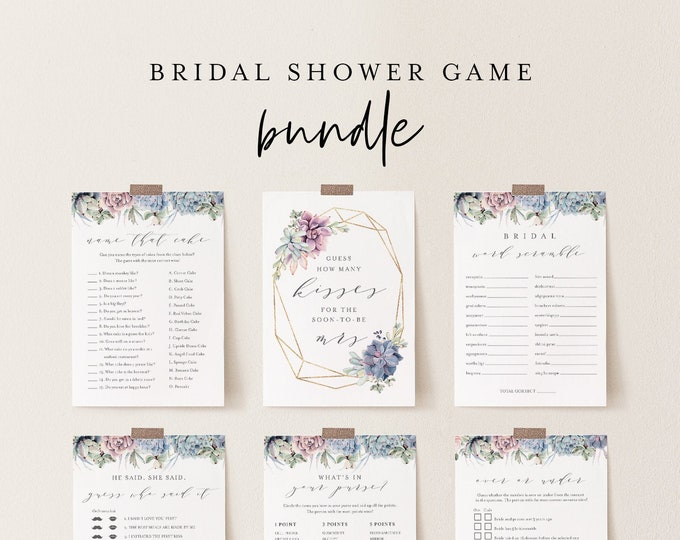 Bridal Shower Game Bundle, 12 Editable Templates, INSTANT DOWNLOAD, Customize Name & Questions, Succulent Bridal Games, Templett #041BGB