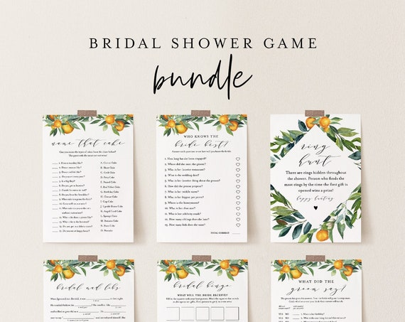 Bridal Shower Game Bundle, 12 Editable Templates, INSTANT DOWNLOAD, Customize Name & Questions, Citrus Orange Bridal Games, Templett #084BGB