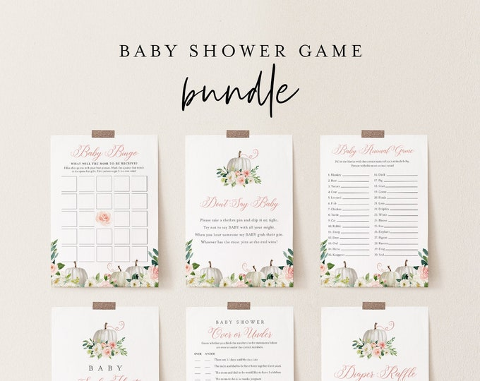 Baby Shower Game Bundle, Fall Pumpkin Baby Shower Templates, 13 Games, Editable Text, Instant Download, Printable, Templett #072B-BBGB