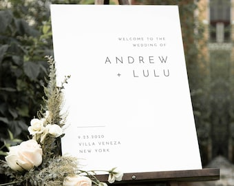 Modern Welcome Sign, Printable Minimalist Wedding or Bridal Shower Sign, Instant Download, Editable Template, Templett #094-198LS