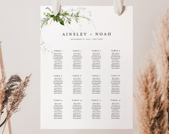Modern Greenery Seating Chart Template, Printable Wedding Seating Sign, Instant Download, 100% Editable Text, US & UK Sizes #0011-287SC