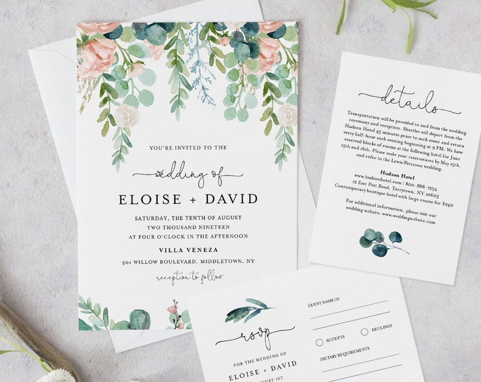 Greenery Wedding Invitation Set Template, Watercolor Lush Garden Invite, RSVP & Details, INSTANT DOWNLOAD, 100% Editable, Templett #068A1