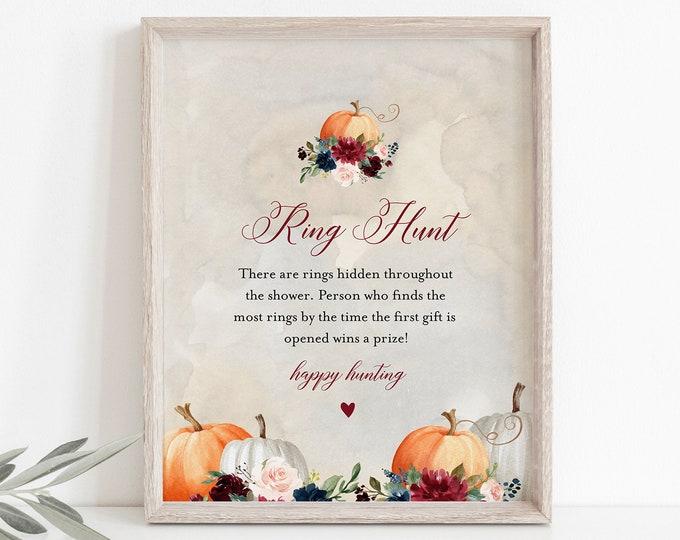 Ring Hunt Bridal Shower Game, Pumpkin Ring Game Template, Fall Bridal Shower Printable, Editable, Instant Download, Templett #072A-336BG