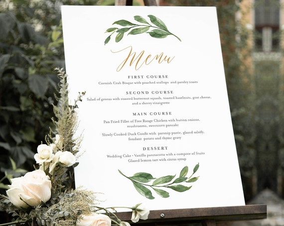 Wedding Menu Sign Template, Greenery and Gold Wedding Menu Poster, Printable Menu, INSTANT DOWNLOAD, Editable Text, 18x24, 24x36 #067-132WMS