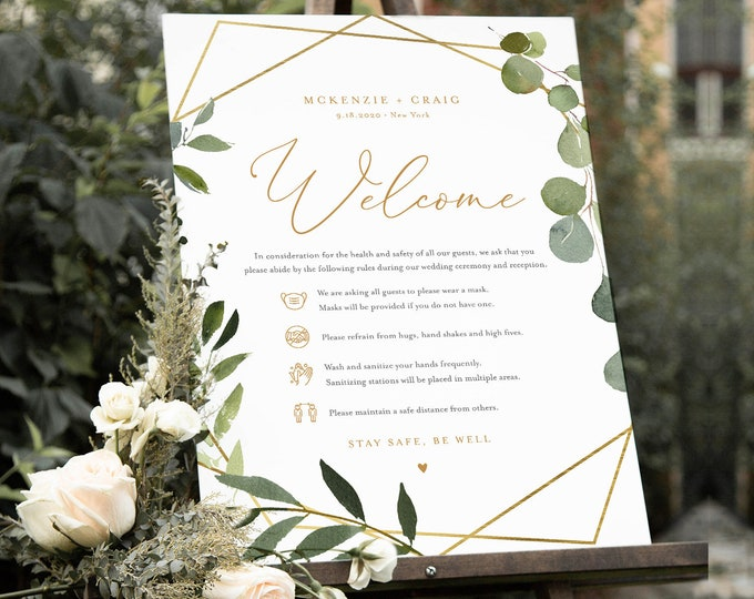 Safety Rules + Guidelines, Covid Wedding Welcome Sign, Social Distance Baby / Bridal Shower, Instant Download, Templett, 18x24  #056-121CVW