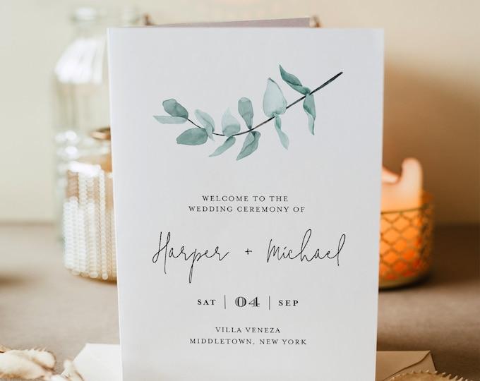 Folded Wedding Program Template, INSTANT DOWNLOAD, Order of Service, 100% Editable Text, Eucalyptus Greenery, Boho Wedding, DIY  #049-122WP