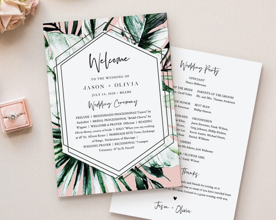 Tropical Wedding Program Template, Order of Service, INSTANT DOWNLOAD, Fan or Flat Program, 100% Editable Text, Templett  #087-423WP