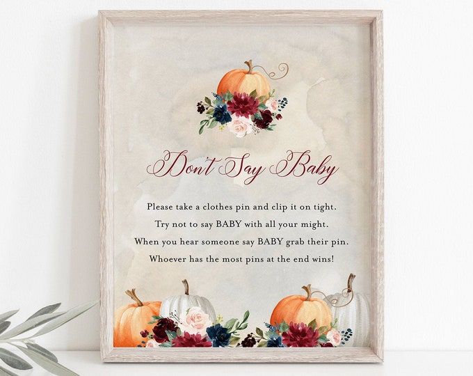 Don't Say Baby Clothespin Game, Fall Pumpkin Baby Shower Sign, Editable Template, Printable, Instant Download, Templett  #072A-212BASG