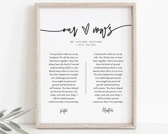 Modern Wedding Vow Keepsake Wall Art, 1st Year Anniversary Gift, Paper, Editable Template, INSTANT DOWNLOAD, 8x10, 11x14, 16x20 #0009-214LS