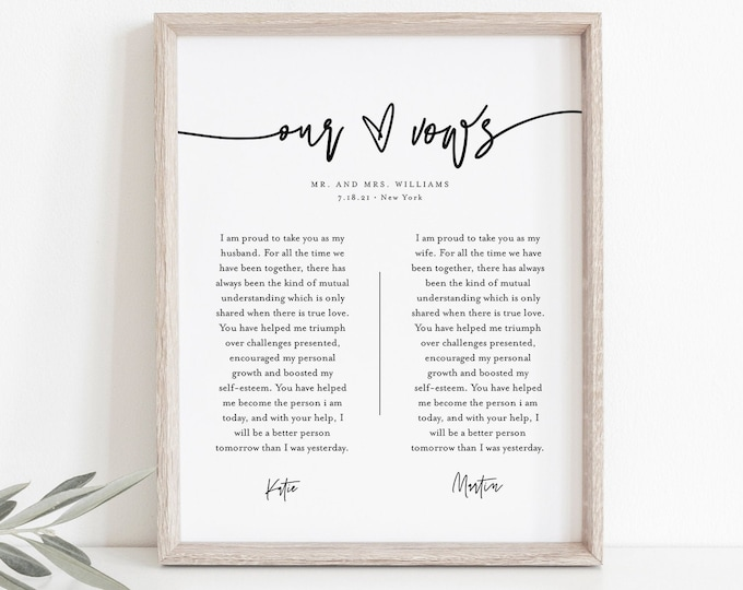 Modern Wedding Vow Keepsake Wall Art, 1st Year Anniversary Gift, Paper, Editable Template, INSTANT DOWNLOAD, 8x10, 11x14, 16x20 #0009-214LS