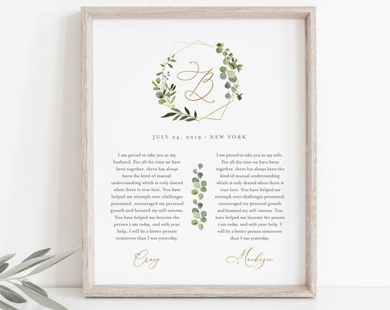 1st Year Anniversary Gift, Paper, Greenery Wedding Vow Keepsake Wall Art, Editable Template, INSTANT DOWNLOAD, 8x10, 11x14, 16x20 #056-182LS