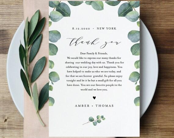 Eucalyptus Thank You Letter, Napkin Note, Printable Wedding Menu Thank You, Editable Template, INSTANT DOWNLOAD, Templett, 4x6 #036-119TYN