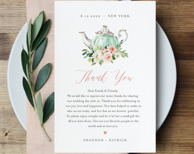 Tea Party Thank You Letter, Napkin Note, Printable Wedding Menu Thank You, Editable Template, INSTANT DOWNLOAD, Templett, 4x6 #085-118TYN