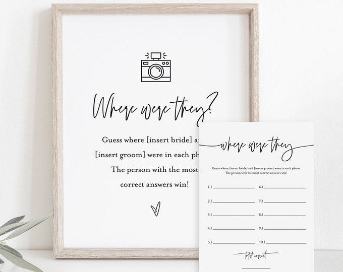 Where Were They Bridal Shower Game Template, Couples Photo Game, Minimalist Bridal Shower, Editable, Instant Download, Templett #0009-388BG