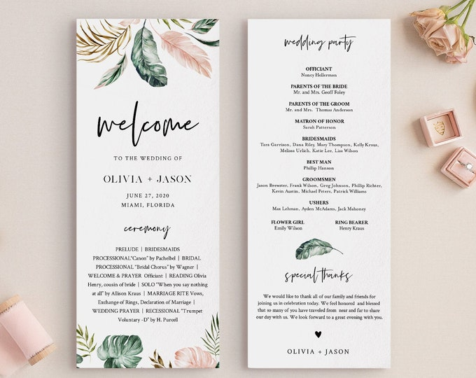 Tropical Wedding Program Template, Printable Order of Service, Lush Greenery, Instant Download, 100% Editable Text, DIY, Templett #087-227WP