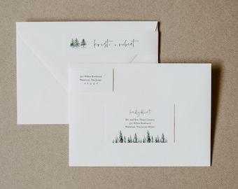 Pine Tree Address Label, Winter Wedding Envelope Sticker, Rustic Return Address Template, INSTANT DOWNLOAD, Editable, Templett #073-102ENL