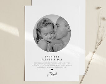 Photo Father's Day Card Template, Custom Insert Your Own Image, 100% Editable, Printable or Digital, Instant Download, Templett #102FDC