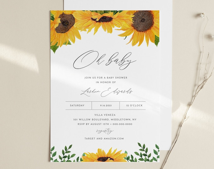 Sunflower Baby Shower Invitation, Summer Baby Shower Invite, Gender Neutral, Oh Baby, Editable Template, Instant Download #0010-189BA